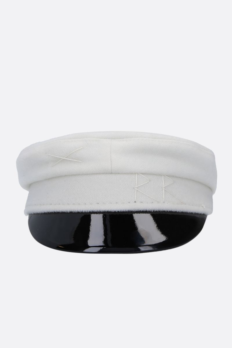 RUSLAN BAGINSKIY: wool felt baker boy cap Color White_1