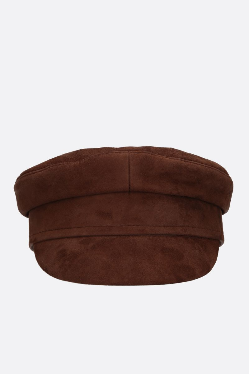 RUSLAN BAGINSKIY: suede baker boy cap Color Brown_1