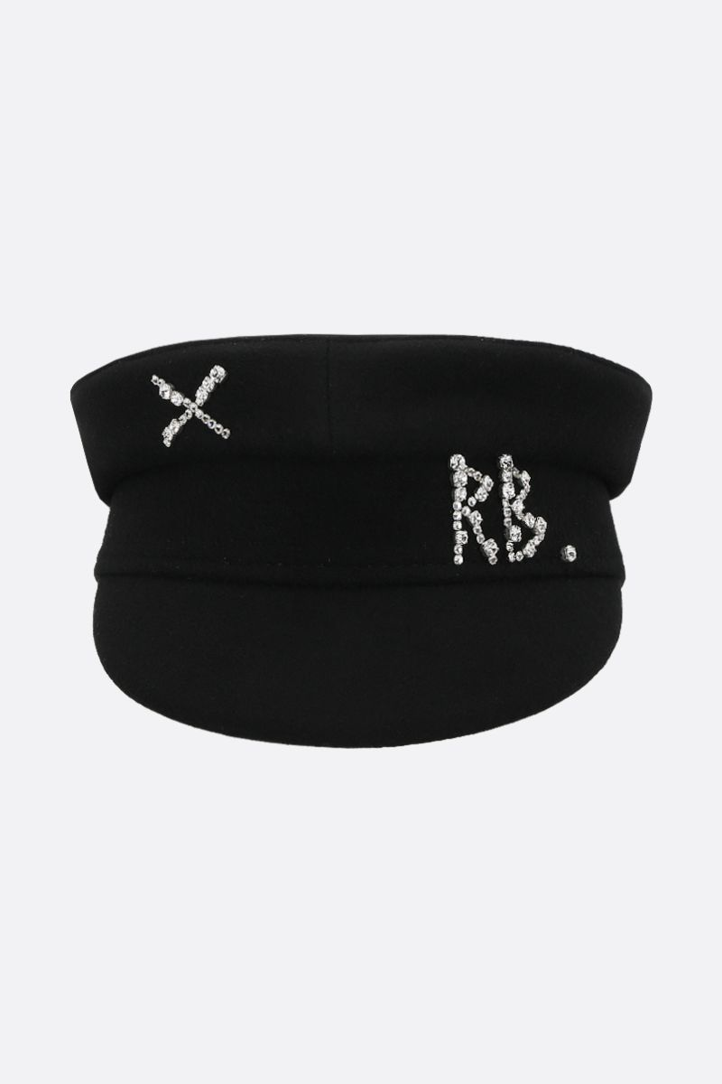 RUSLAN BAGINSKIY: wool felt baker boy cap Color Black_1