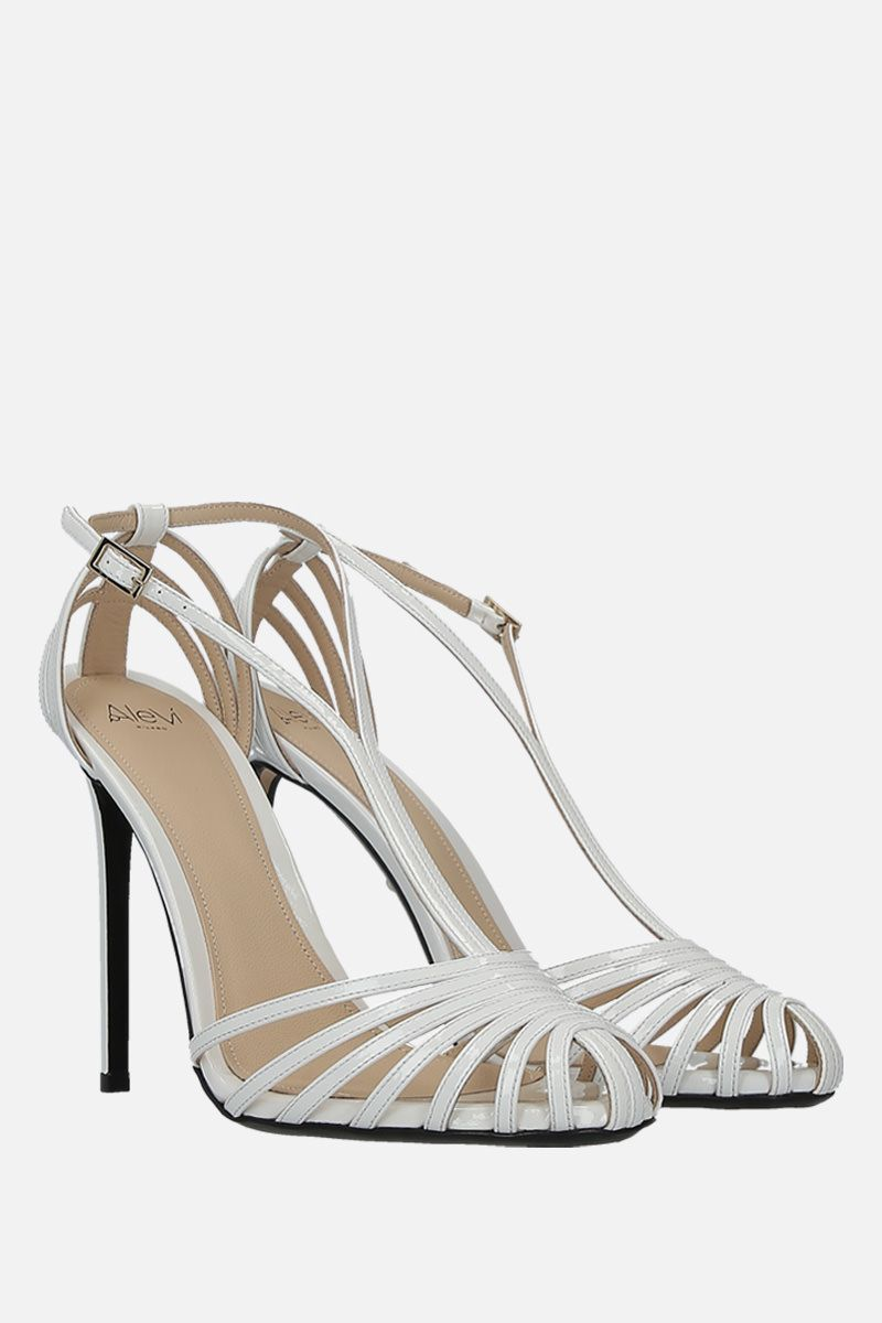 ALEVI' MILANO: Toni cage sandals in patent leather Color White_2