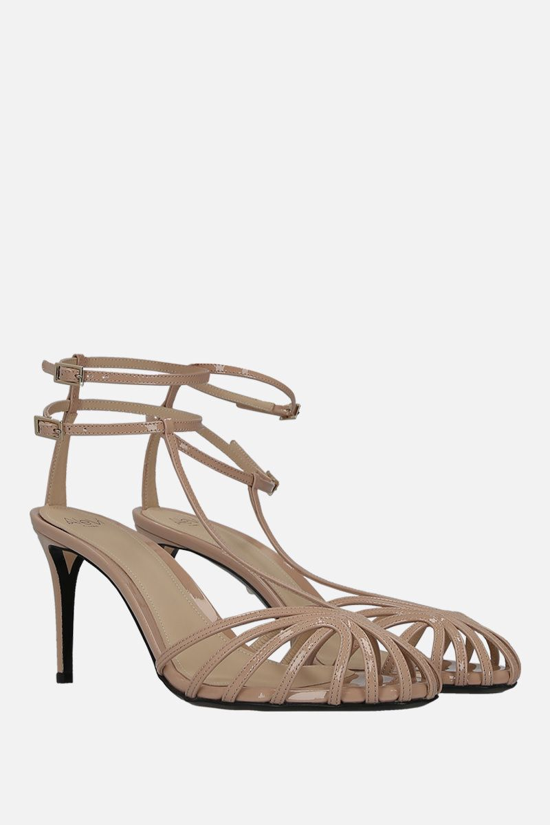 ALEVI' MILANO: Anna cage sandals in patent leather Color Neutral_2