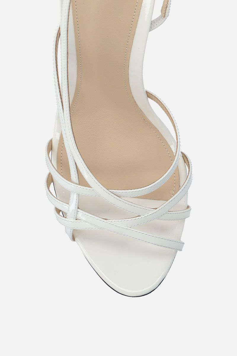 ALEVI' MILANO: Tiffany patent leather sandals Color White_5