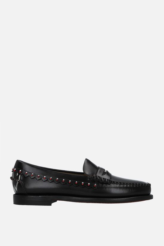 ALANUI: Dan bead-embellished smooth leather loafers Color Brown_1