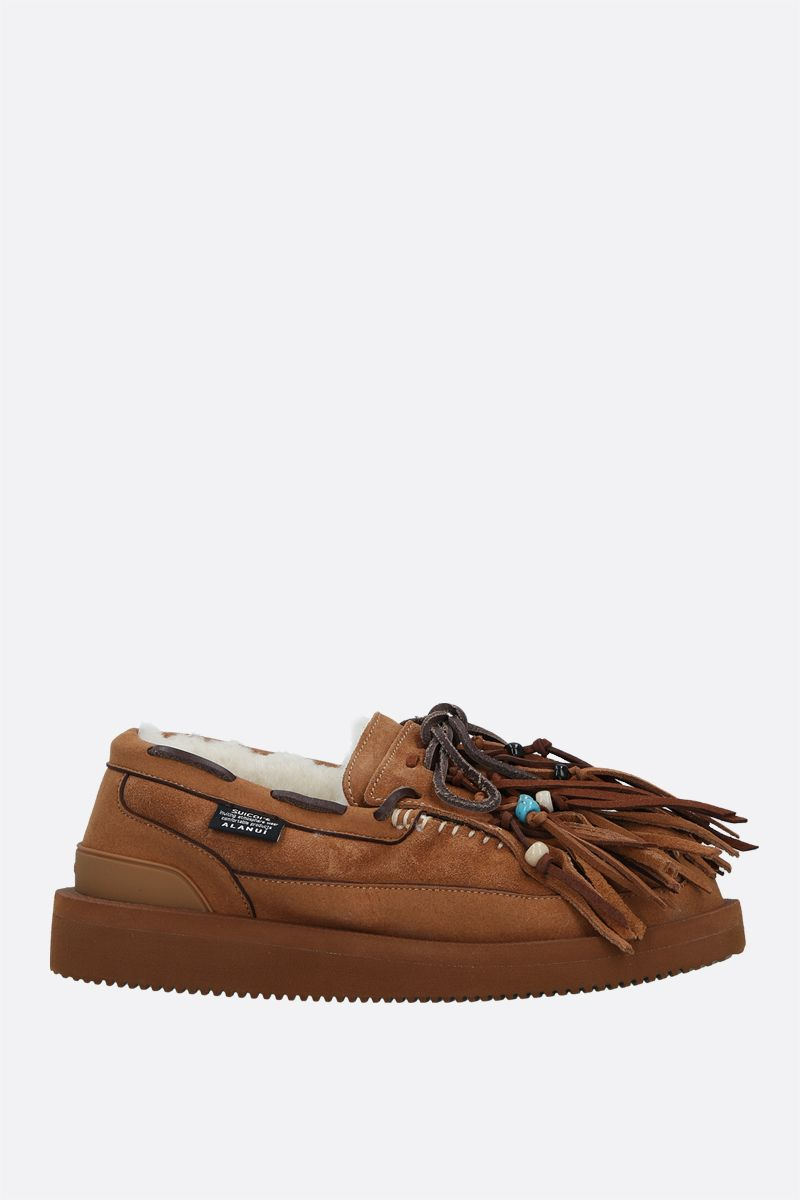 ALANUI: Own Suicoke fringed suede loafers Color Neutral_1