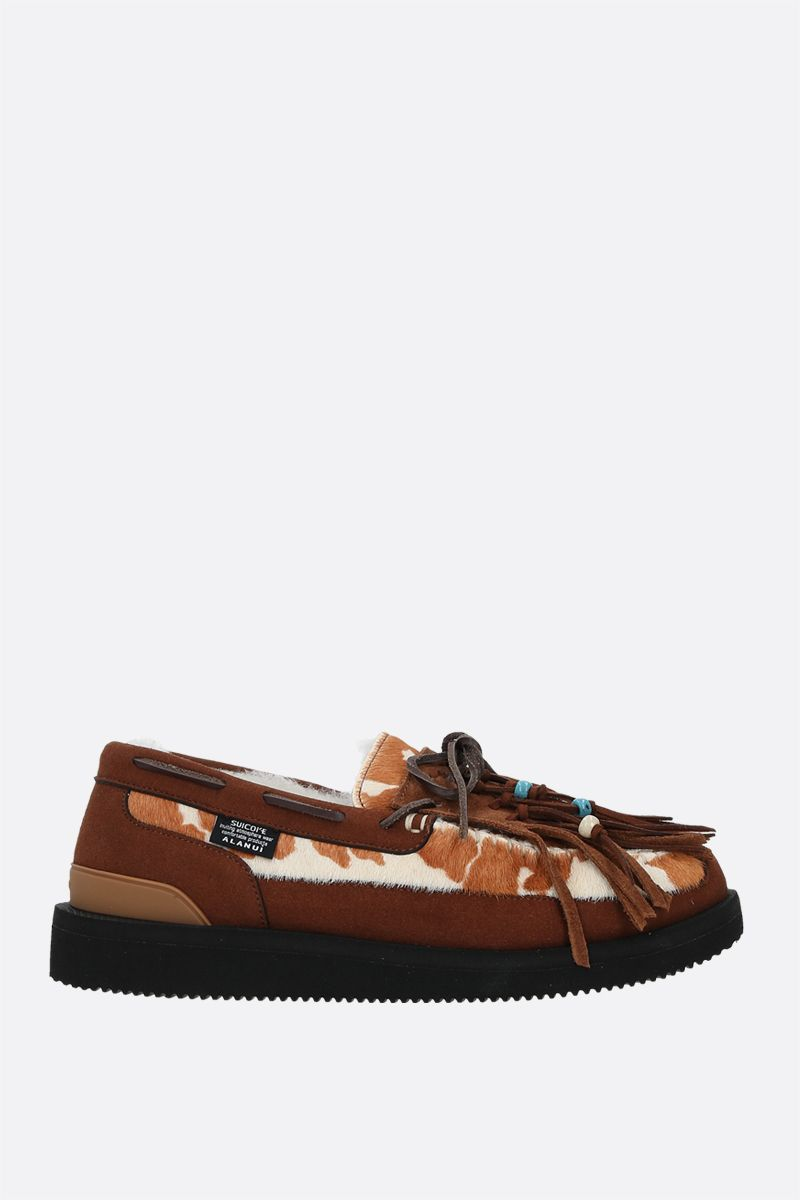 ALANUI: OWN Suicoke fringed suede and pony hair loafers Color Multicolor_1