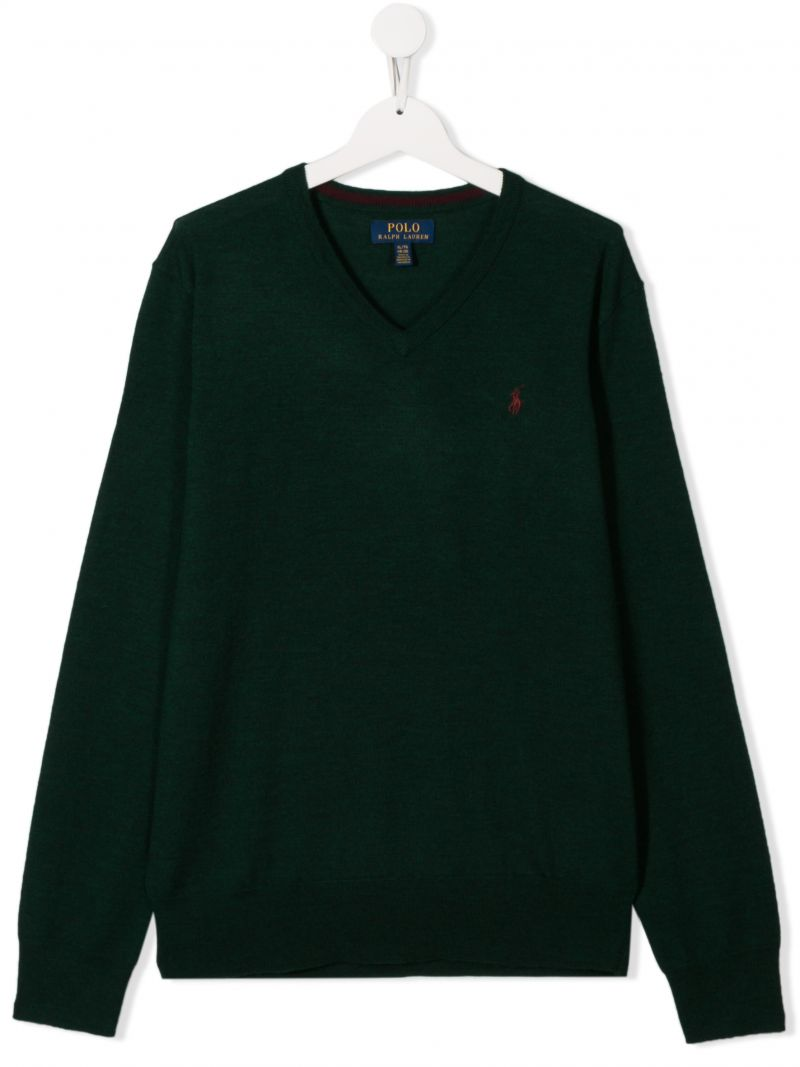 RALPH LAUREN KIDS: Pony embroidered wool pullover Color Green_1