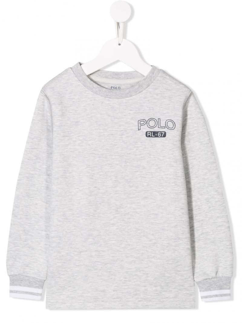 RALPH LAUREN KIDS: Polo RL-67 print jersey sweatshirt Color Grey_1
