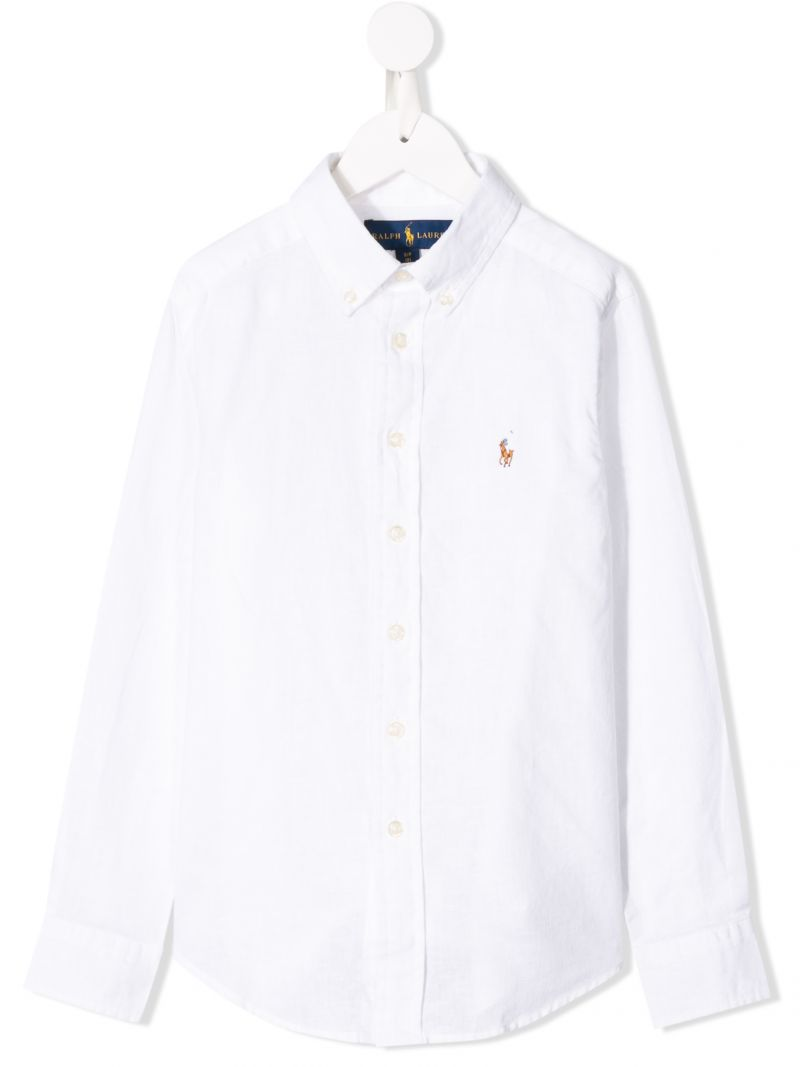 RALPH LAUREN KIDS: logo embroidered linen blend shirt Color White_1