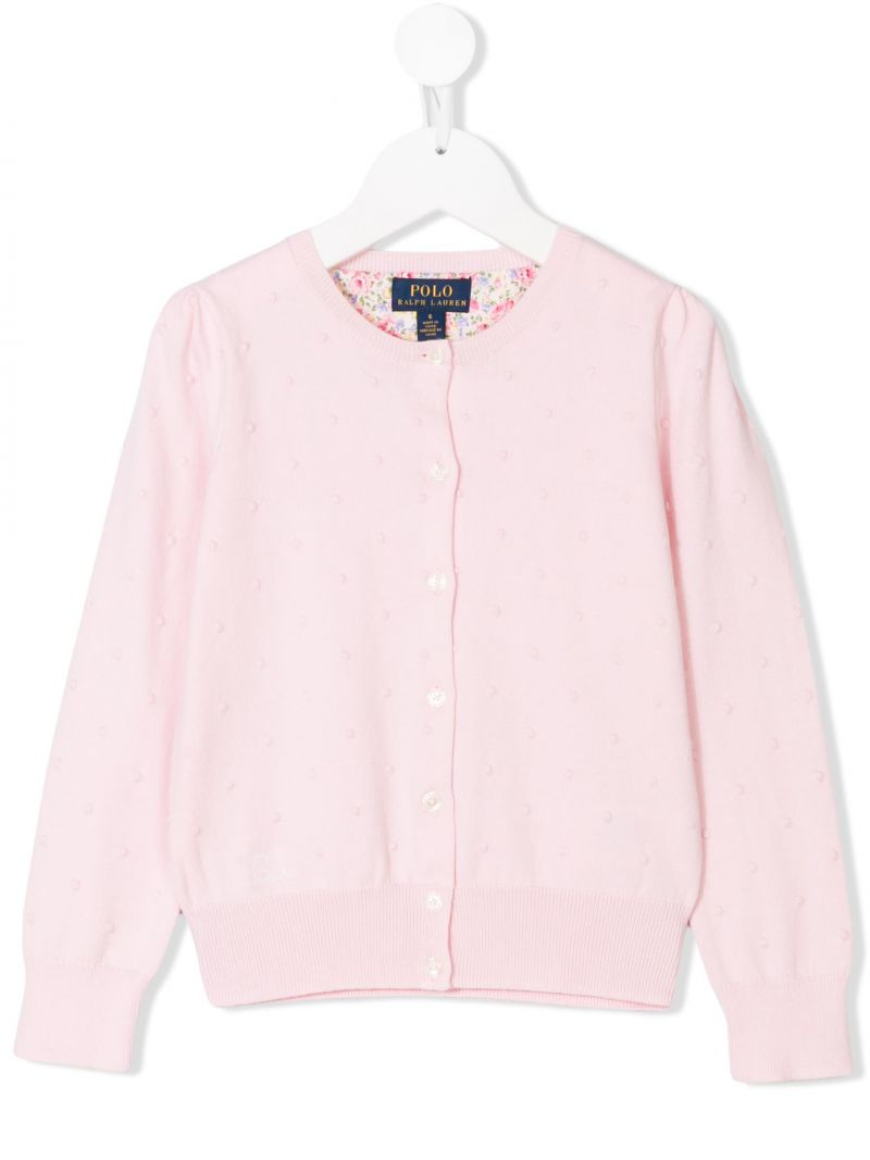 RALPH LAUREN KIDS: cotton knit cardigan Color Pink_1