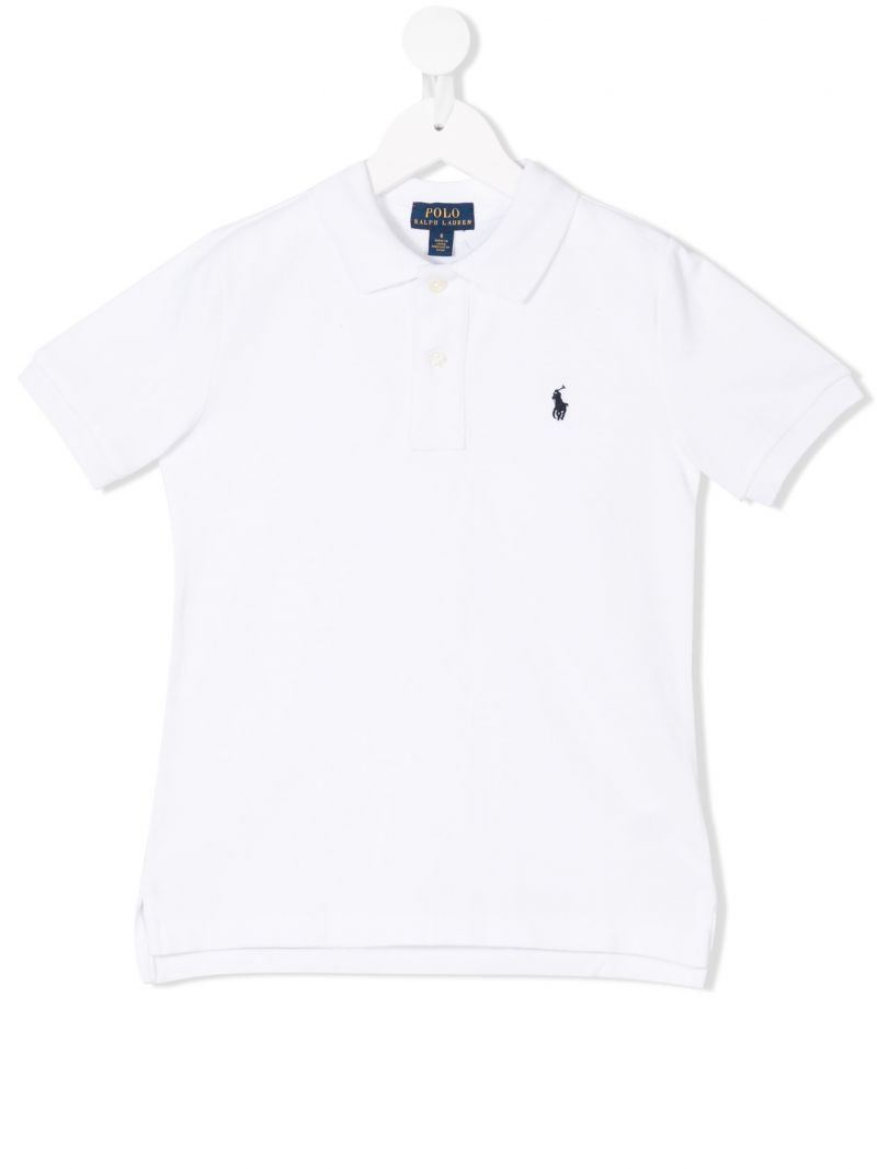 RALPH LAUREN KIDS: logo embroidered piquet polo shirt Color White_1