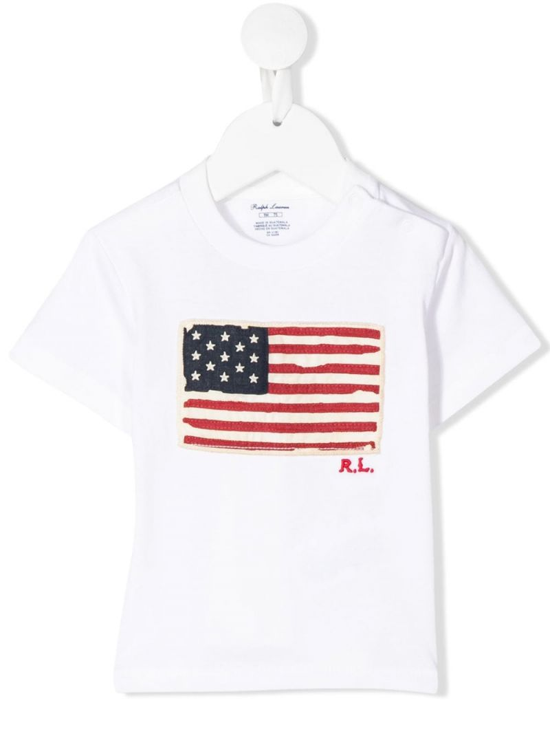 RALPH LAUREN KIDS: American Flag patch cotton t-shirt Color White_1