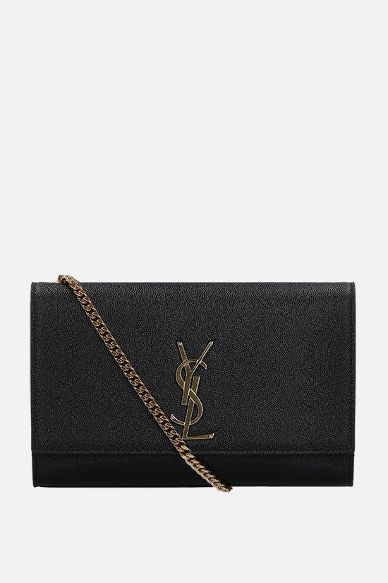 SAINT LAURENT: Kate medium chain bag in Grain de Poudre leather Color Black_1
