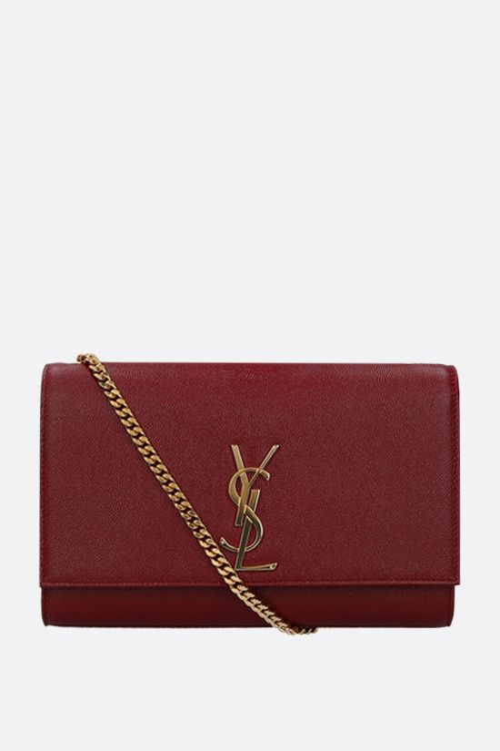 SAINT LAURENT: Kate medium chain bag in Grain de Poudre leather Color Red_1