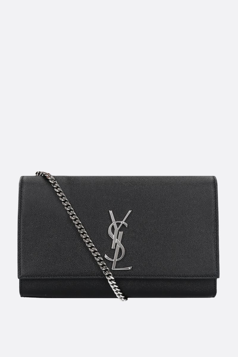 SAINT LAURENT: Kate medium shoulder bag in Grain de Poudre leather Color Black_1