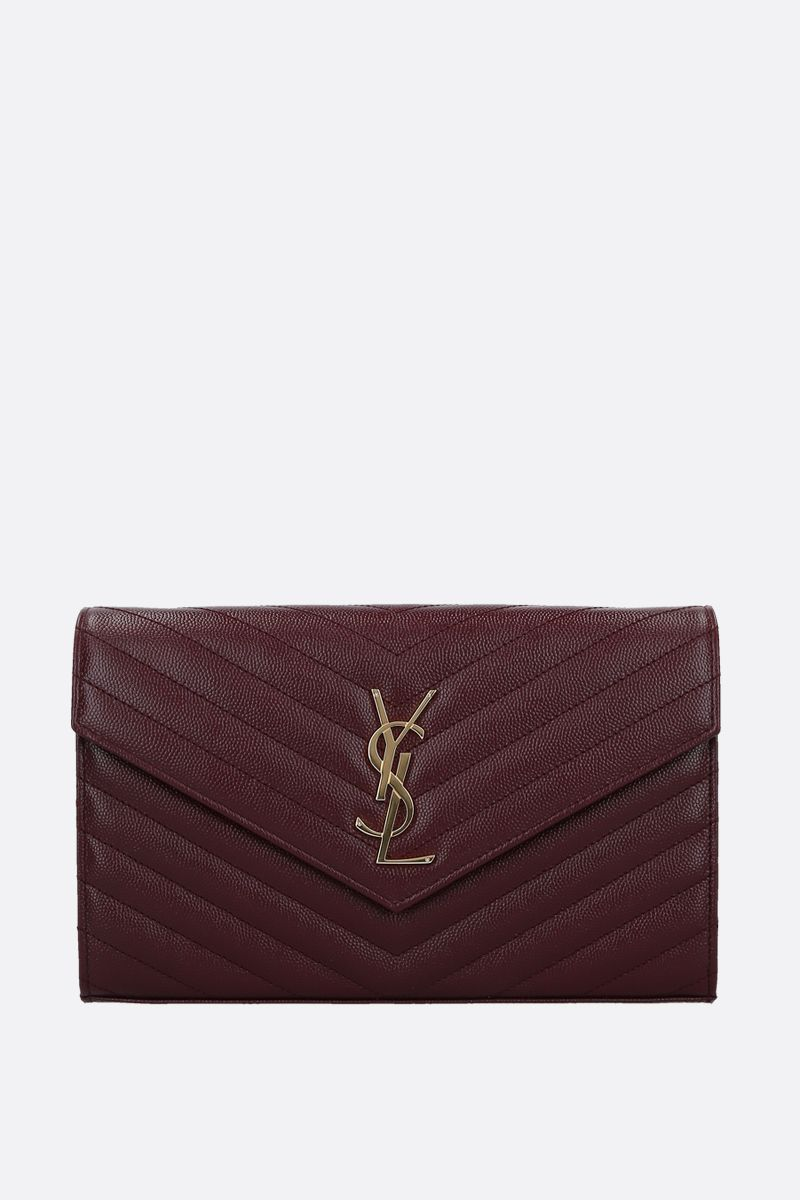 SAINT LAURENT: Monogram quilted leather chain wallet Color Red_1