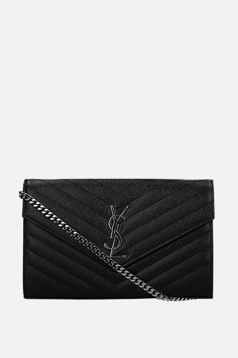 SAINT LAURENT: Monogram quilted leather chain wallet Color Black_1