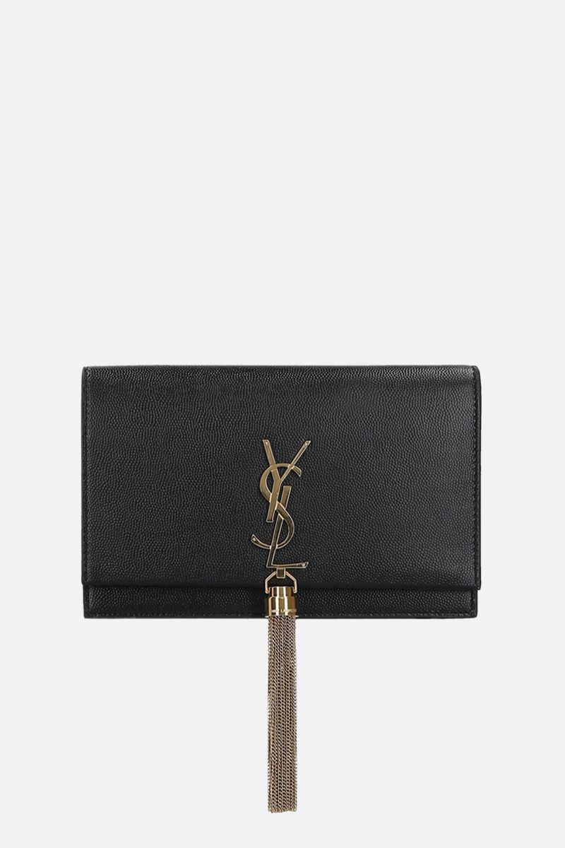 SAINT LAURENT: Kate Tassel chain wallet in Grain de Poudre leather Color Black_1