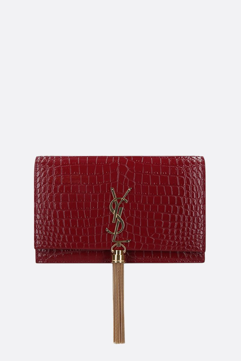 SAINT LAURENT: Kate Tassel crocodile-embossed leather chain wallet_1