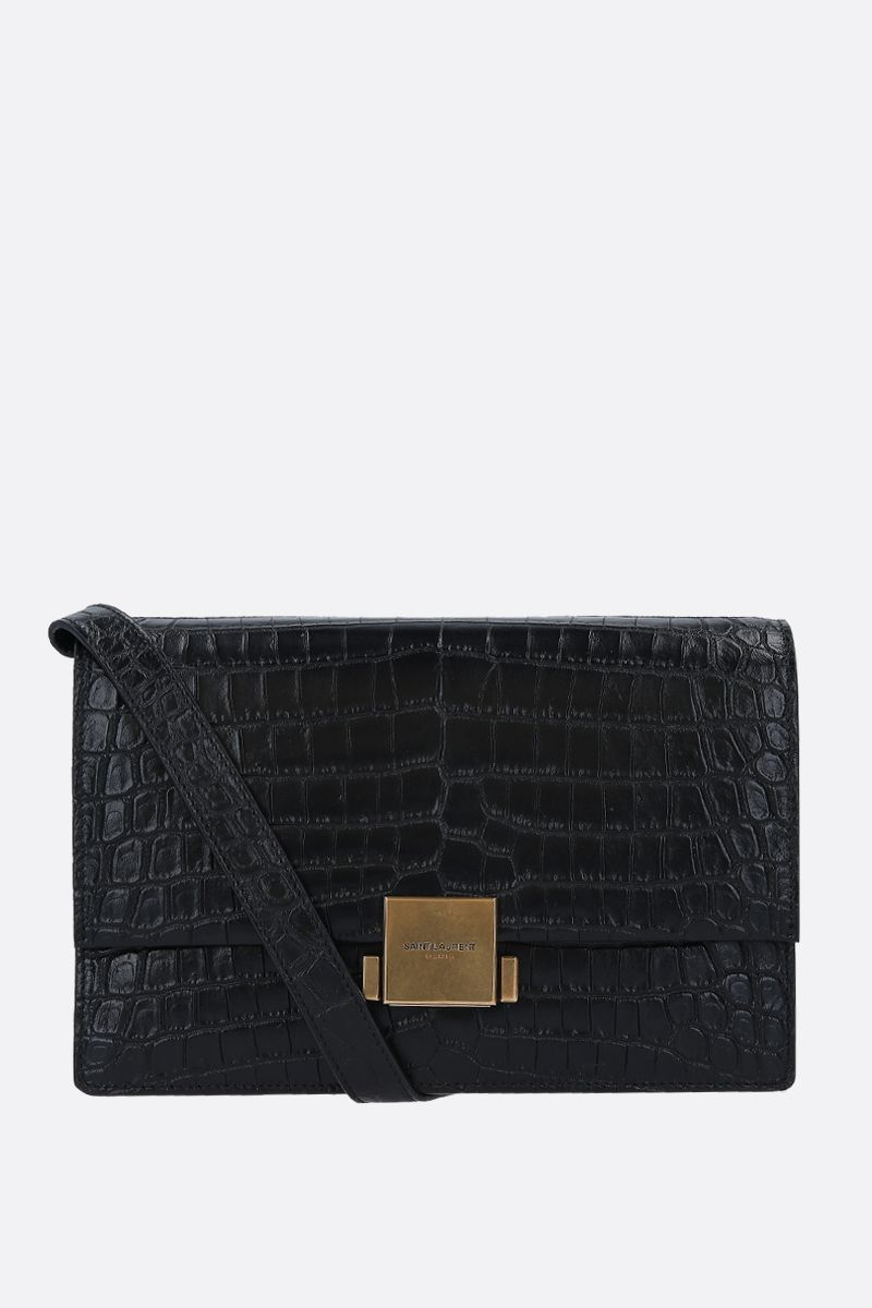 SAINT LAURENT: borsa a tracolla Bellechasse media in pelle stampa coccodrillo Colore Nero_1