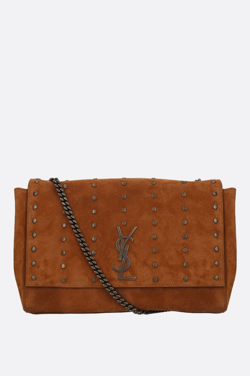 SAINT LAURENT: borsa a spalla reversibile Kate in suede e nappa Colore Neutro_1