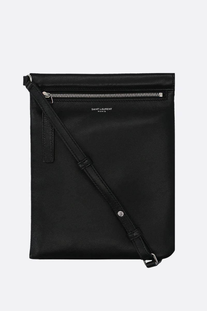 SAINT LAURENT: nappa flat shoulder bag Color Black_1