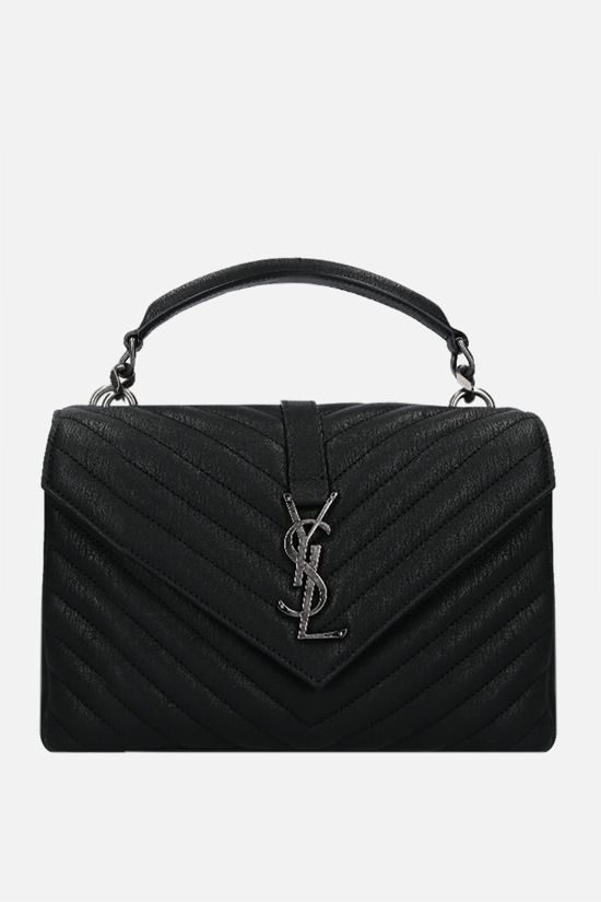 SAINT LAURENT: Collège medium quilted nappa crossbody bag Color Black_1