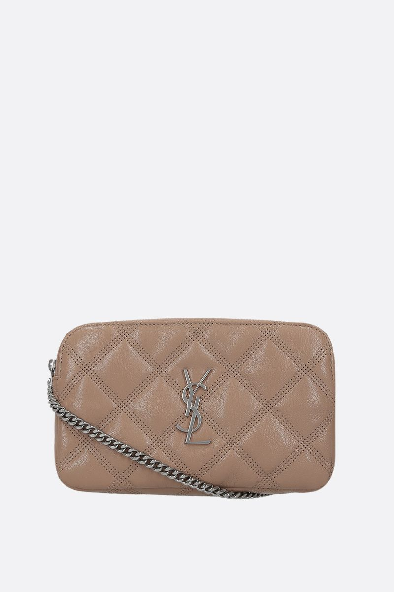 SAINT LAURENT: Becky quilted nappa chain wallet Color Gold_1