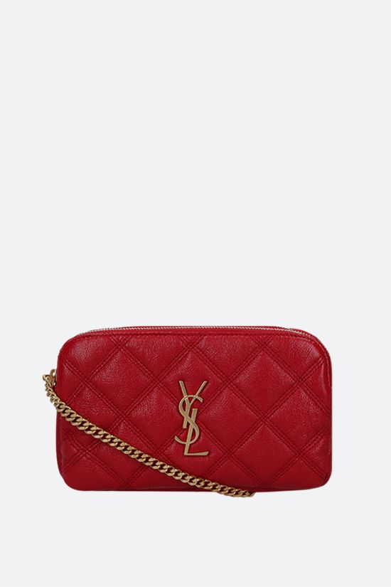 SAINT LAURENT: Becky quilted nappa chain wallet Color Red_1