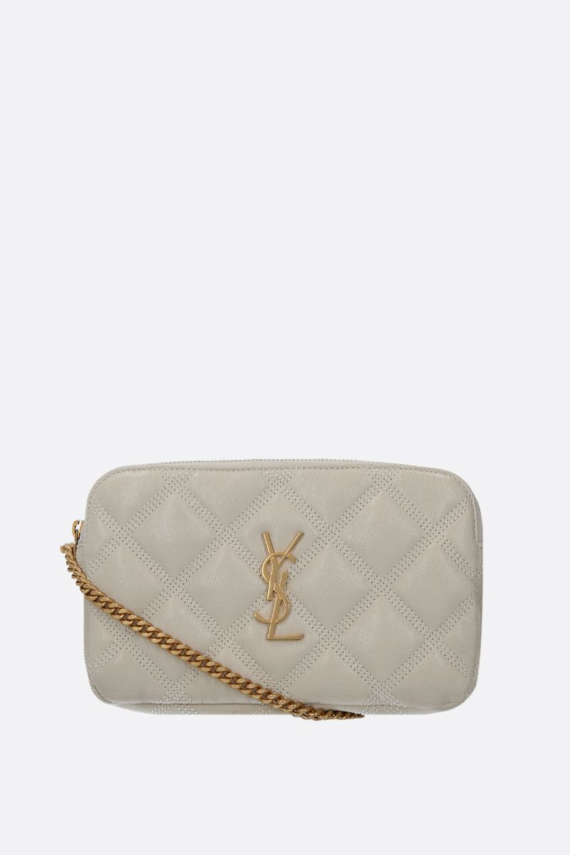 SAINT LAURENT: Becky quilted nappa chain wallet Color Neutral_1