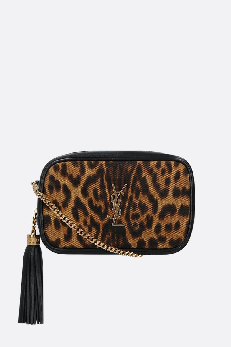 SAINT LAURENT: borsa a tracolla Lou mini in pelle liscia e canvas_1