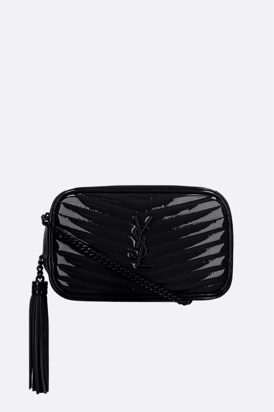 SAINT LAURENT: borsa a tracolla Lou mini in vernice matelassè Colore Nero_1