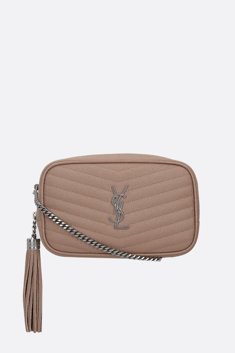 SAINT LAURENT: Lou mini quilted leather crossbody bag Color Gold_1