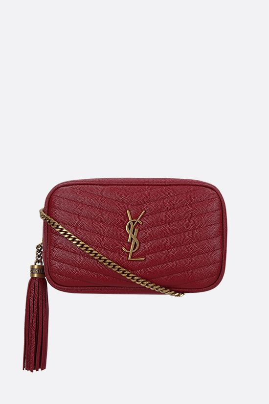 SAINT LAURENT: Lou mini quilted leather crossbody bag Color Red_1