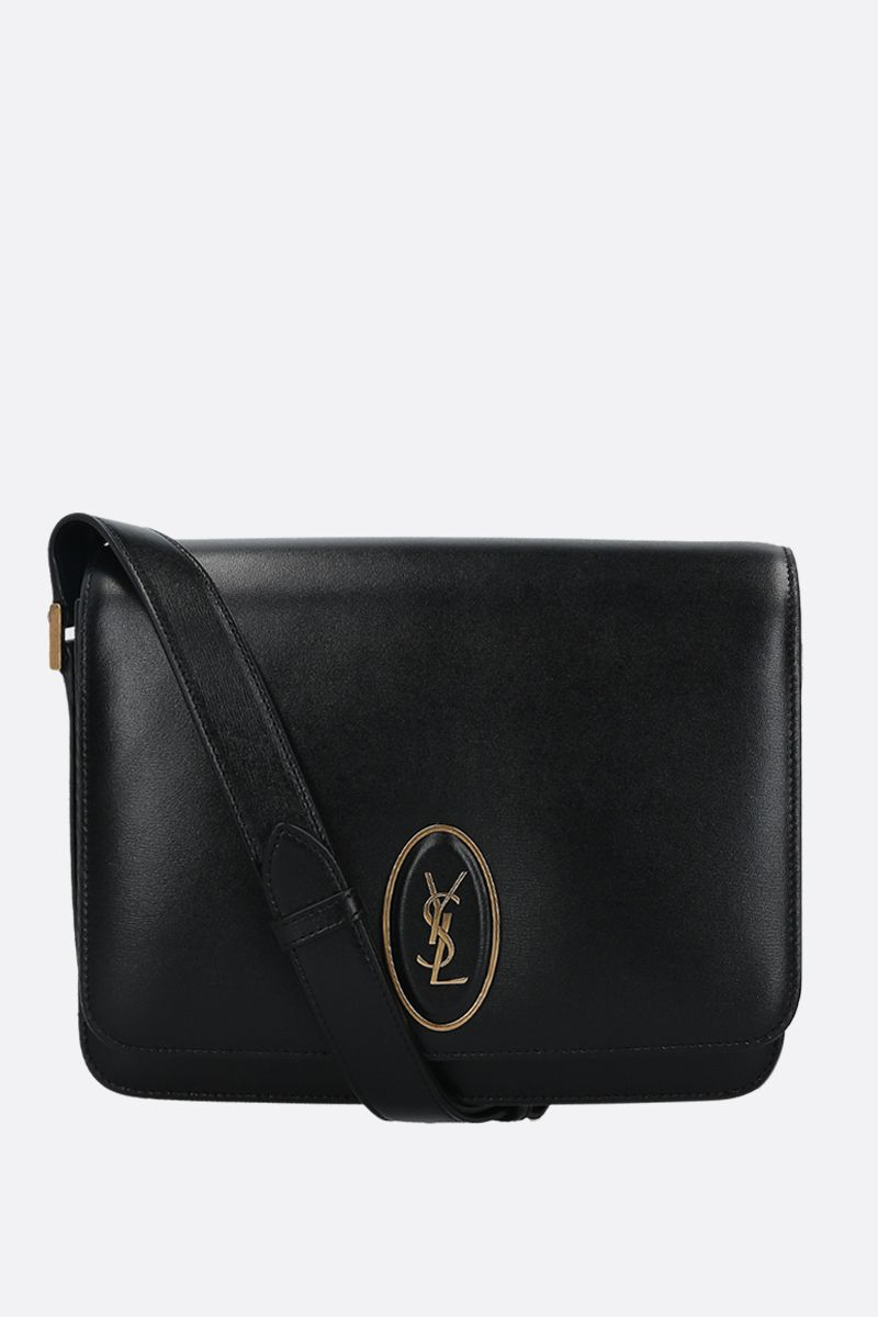 SAINT LAURENT: borsa a tracolla Saddle Le 61 media in pelle liscia Colore Nero_1