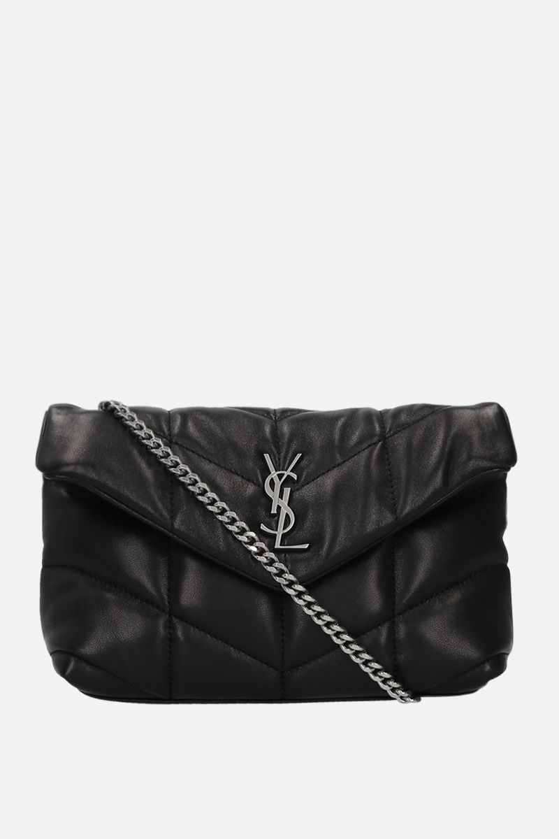 SAINT LAURENT: Loulou Puffer mini nappa leather crossbody bag Color Black_1