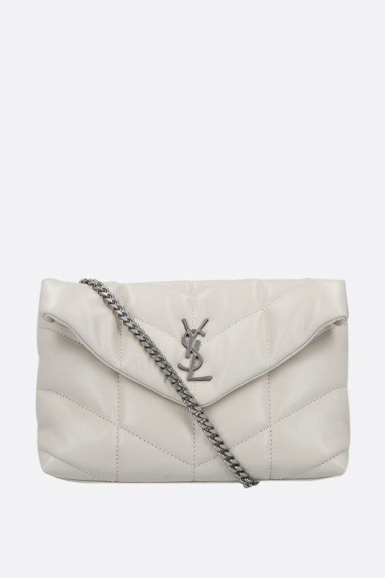 SAINT LAURENT: Loulou Puffer mini quilted nappa shoulder bag Color Neutral_1
