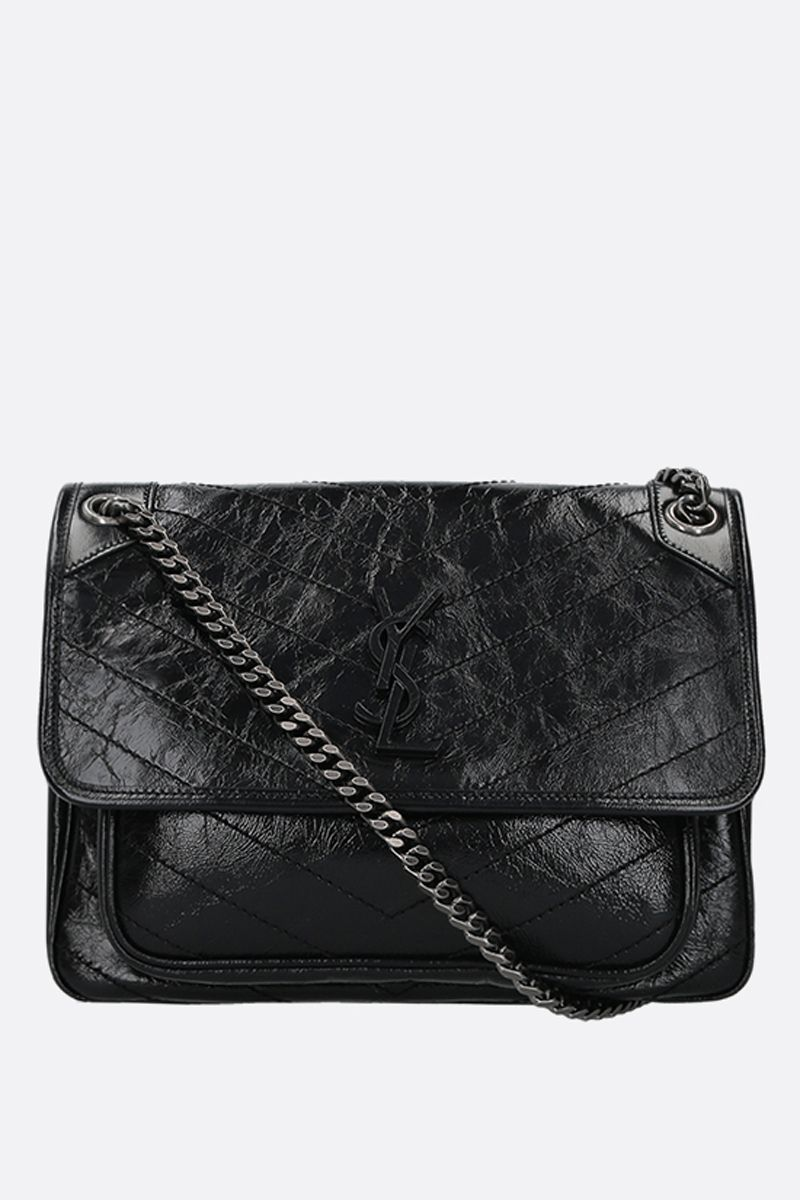 SAINT LAURENT: Niki medium shoulder bag in Vintage leather Color Black_1