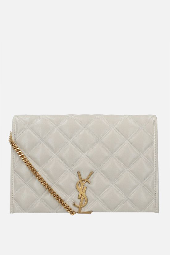 SAINT LAURENT: Becky mini quilted nappa shoulder bag Color Neutral_1
