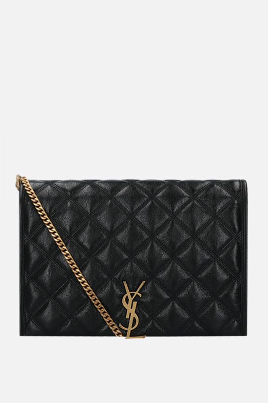 SAINT LAURENT: Becky large quilted nappa shoulder bag Color Black_1