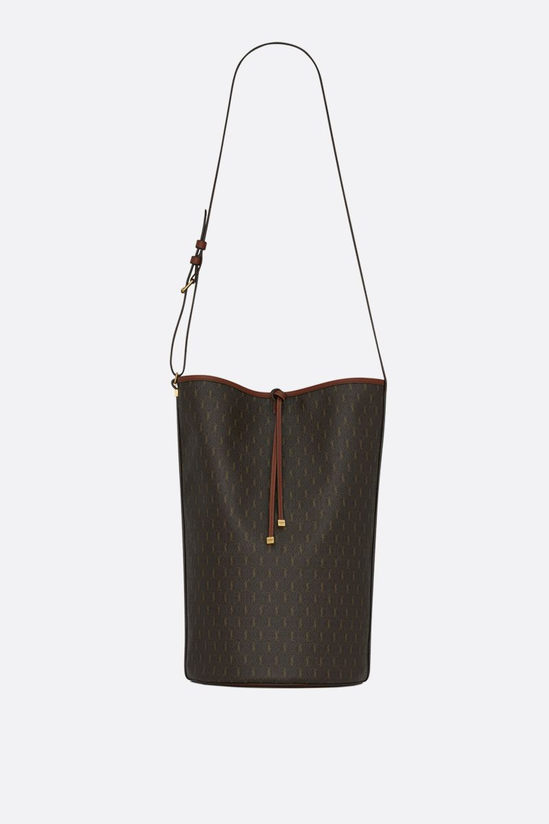 SAINT LAURENT: Le Monogramme coated canvas and smooth leather bucket bag Color Multicolor_1