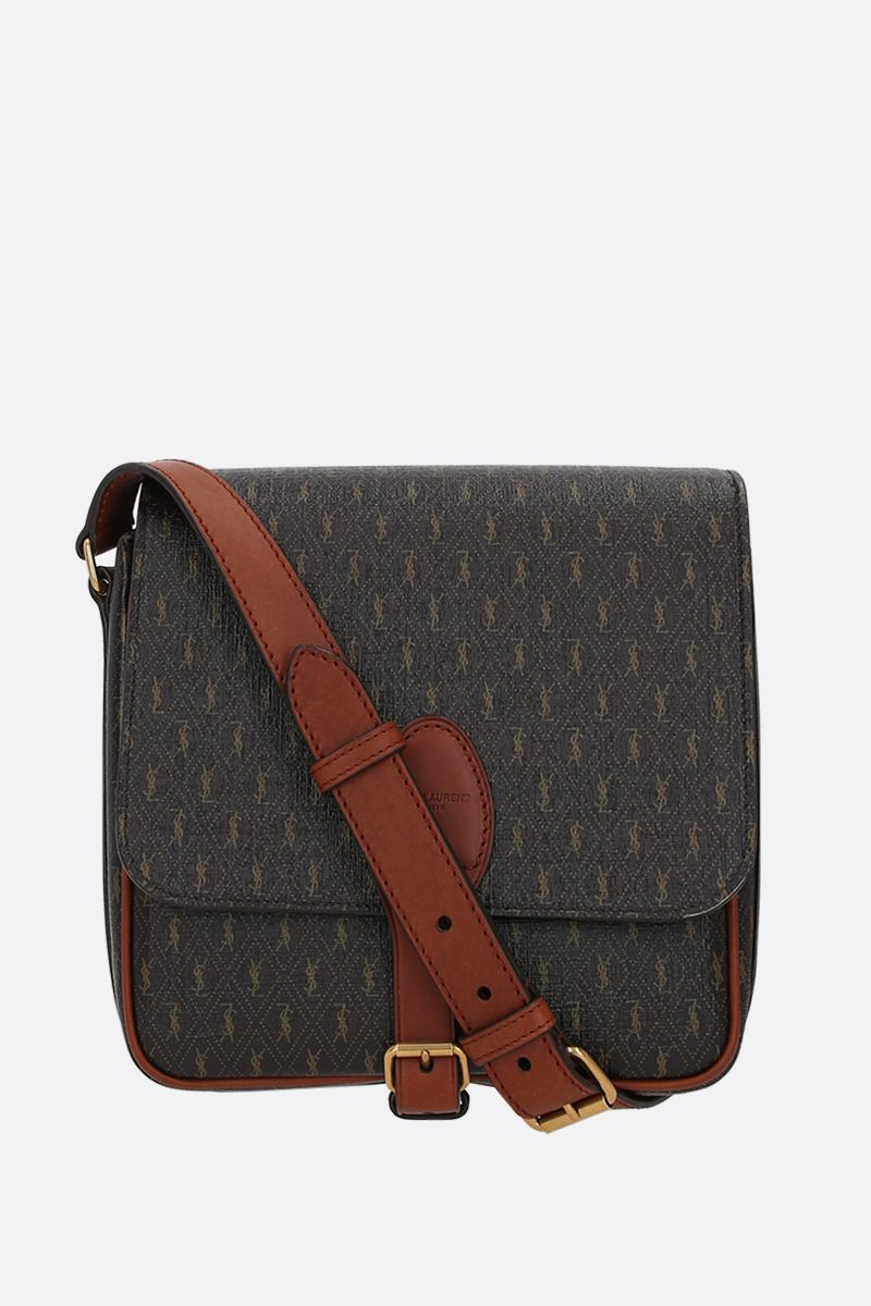 SAINT LAURENT: Le Monogramme coated canvas and smooth leather messenger bag Color Multicolor_1