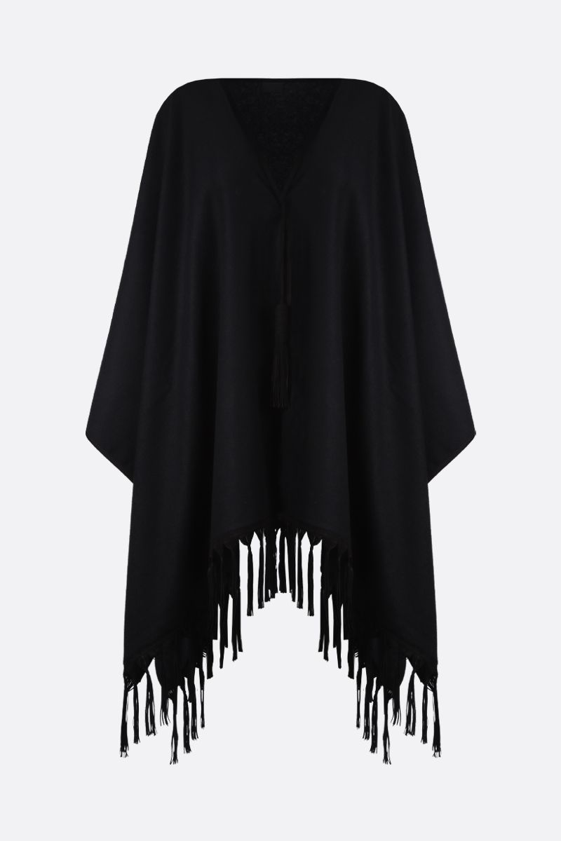SAINT LAURENT: poncho in cashmere con frange Colore Nero_1