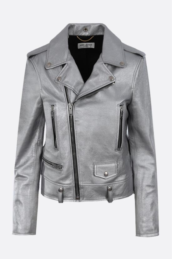 SAINT LAURENT: laminated nappa biker jacket Color Silver_1