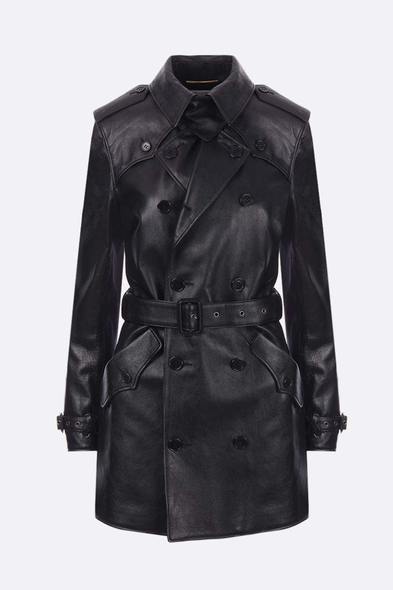 SAINT LAURENT: soft nappa double-breasted trench coat Color Black_1