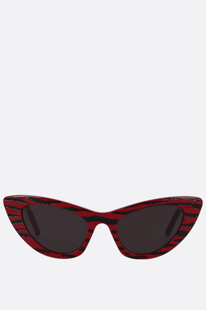 SAINT LAURENT: SL 213 Zebra cat eye sunglasses in acetate Color Red_1