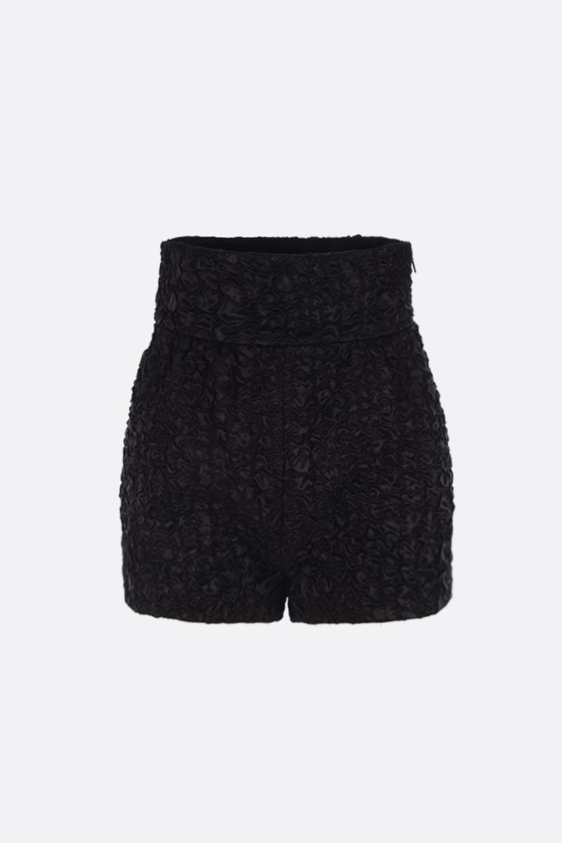 SAINT LAURENT: high-waisted shorts in smocked satin Color Black_1