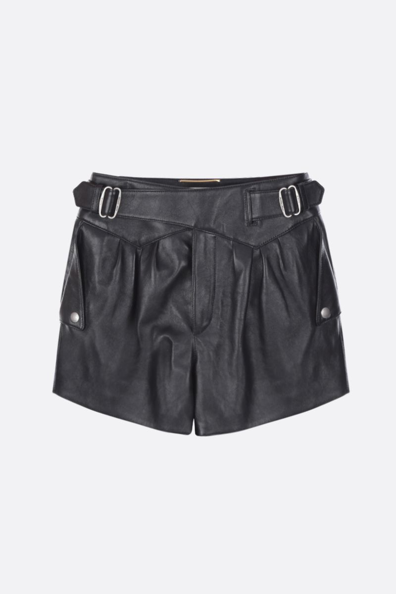 SAINT LAURENT: leather high-waisted shorts Color Black_1