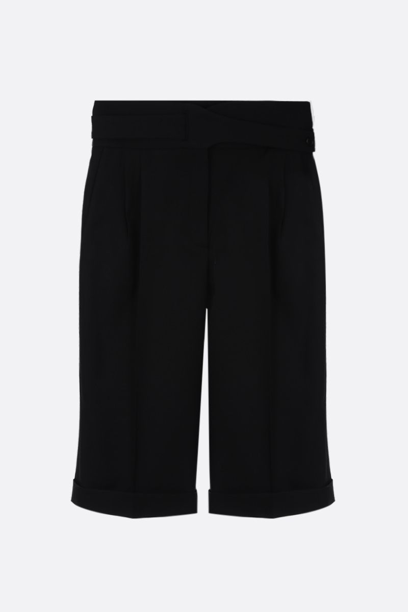 SAINT LAURENT: wool darted shorts Color Black_1