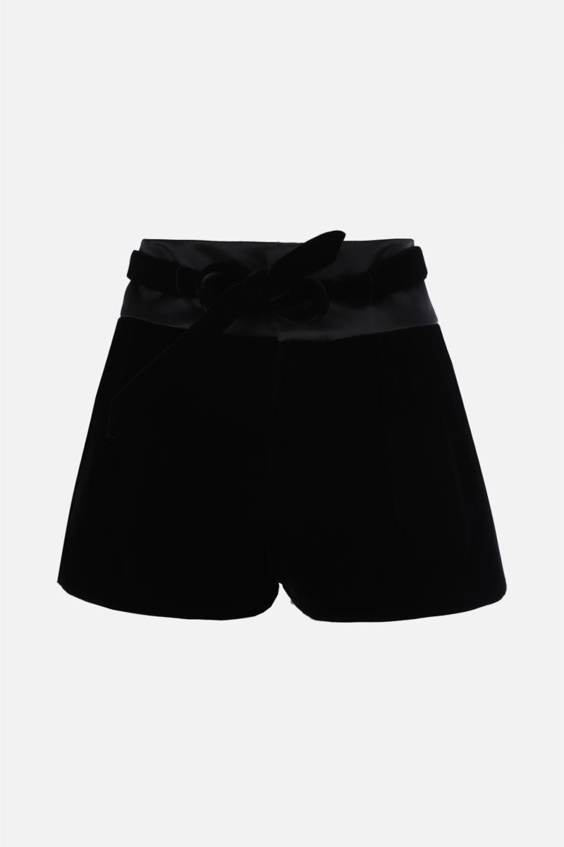 SAINT LAURENT: pantalone corto con pinces in morbido velluto Colore Nero_1