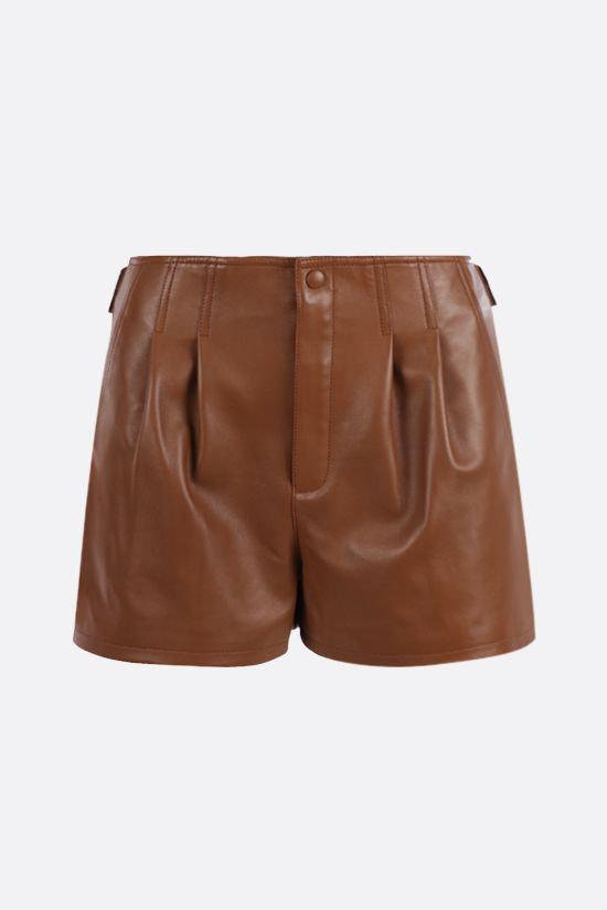SAINT LAURENT: darted nappa shorts Color Brown_1